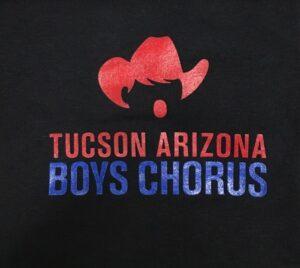 Red and blue Tucson Arizona Boys Chorus logo on black background